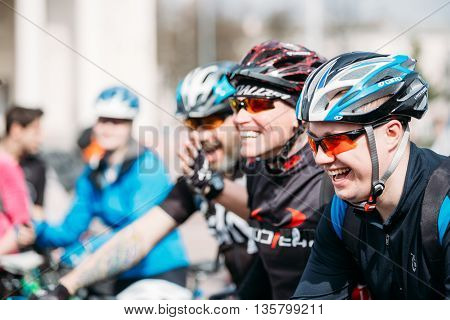 Gomel, Belarus - April 10, 2015: Young men cyclists in sportswear for cycling at opening of the cycling season in city