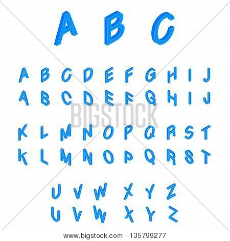 Isometric alphabet font. 3d isometric letters for web and mobile device