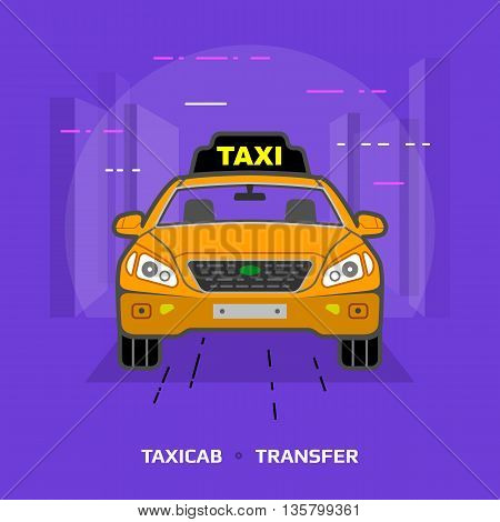 Flat illustration of taxi car against violet background. Flat design of taxicab, front view. Vector image about transport, taxi, transfer, cab, passenger transportation, vehicle, hackney carriage, etc