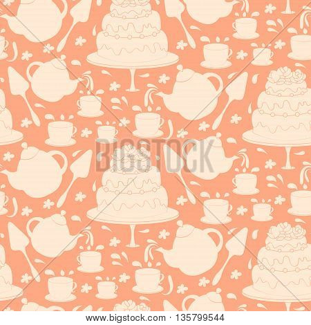 Seamless Pattern Of Tea Pot With Cake And Cups. Vector Illustration