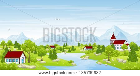urban summer landscape with trees and houses