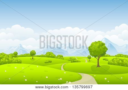 summer landscape with some trees and clouds