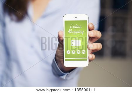 On line shopping app in a mobile phone hold by woman hand.