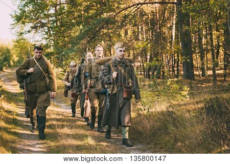 Teryuha, Belarus - October 3, 2015: Group Of Unidentified Re-enactors Dressed As World War II Russian Soviet Soldiers In Camouflage Walks Through Forest On Road