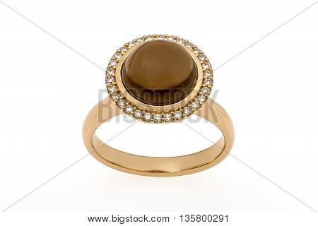 Gold Engagement Ring with Diamonds on white background