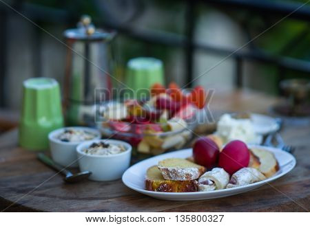 Beautifully Served Breakfast Of Organic Food On A Wooden Tray