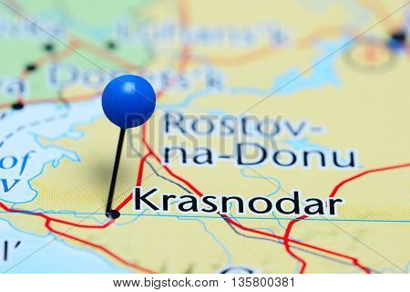 Krasnodar pinned on a map of Russia