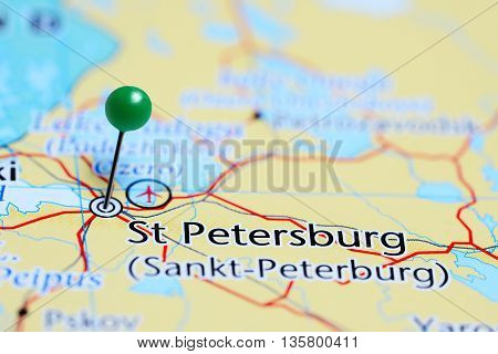 St Petersburg pinned on a map of Russia