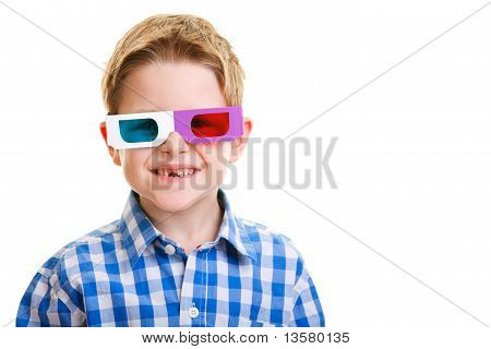 Cute Boy Wearing 3D Glasses
