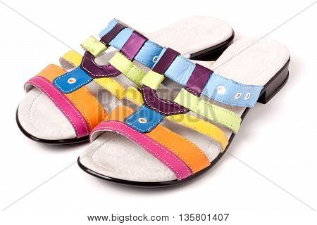 colorful female low-heeled sandals isolated on white background
