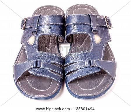 Mens summer blue leather sandals isolated on white background.