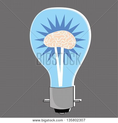 Light bulb with a human brain at the center as a metaphor for bright ideas and innovation