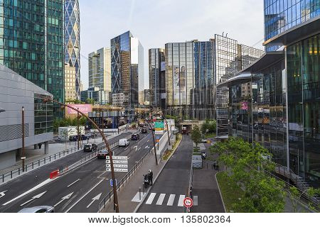 PARIS, FRANCE - MAY 12, 2015: It is an area of modern high-rise office buildings and architectural plan which is called La Defanse.