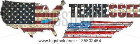 USA state of Tennessee on a brick wall - Illustration, Font with the United States flag,  Tennessee map on a brick wall