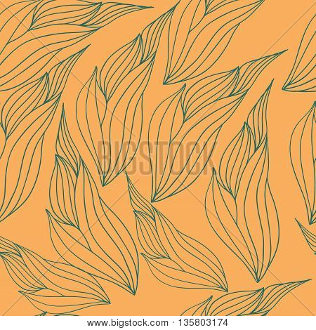 Seamless vector pattern with abstract leaves green color on a yellow background