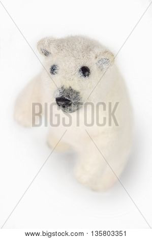 Polar bear toy on a white background.