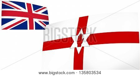 Northern Ireland And United Kingdom Flags Background