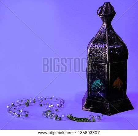 Colourful Lantern with Sibha for Eid occasion or Ramadan