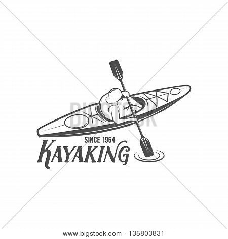 Set of vintage rafting, kayaking, paddling, canoeing camp logo, labels and badges. Kayak isolated vector.