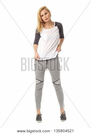 Beauty blonde woman isolated on white background