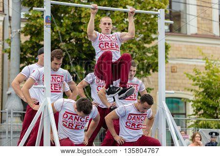 Kharkiv Ukraine - June 11 2016: Guys performs a trick