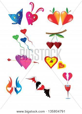 Set of different color hearts and elements