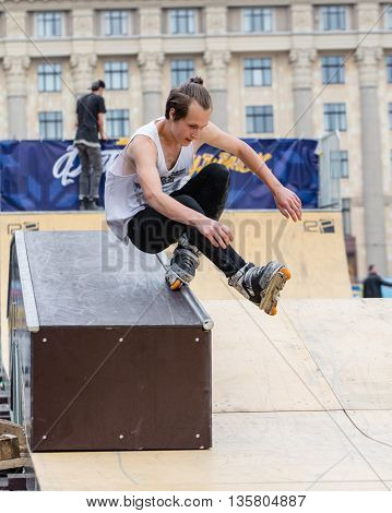 KHARKOV UKRAINE - JUNE 11 2016: Aggressive rollerblading competitionfestival of street culture on Freedom Square in Kharkov