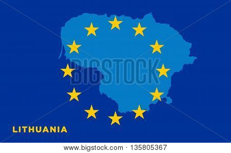 Flag of European Union with Lithuania on background. Vector EU flag