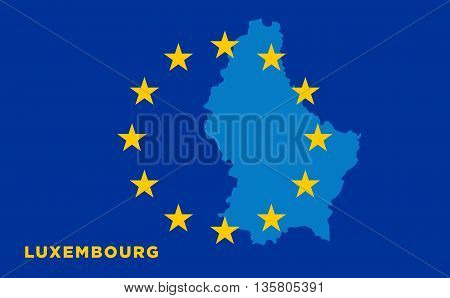 Flag of European Union with Luxembourg on background. Vector EU flag