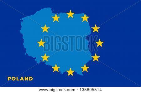Flag of European Union with Poland on background. Vector EU flag