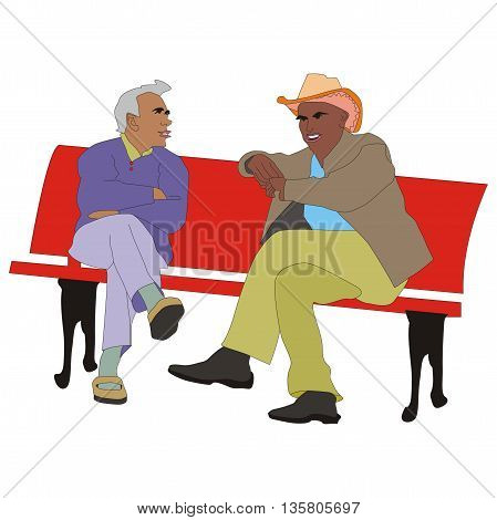 Illustration two seniors friends talking in the garden are on the bench