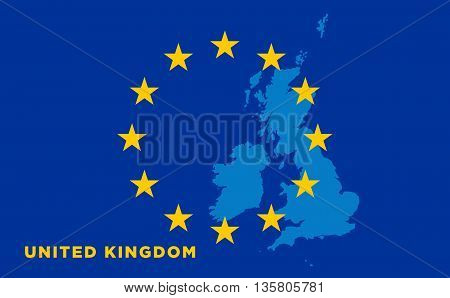 Flag of European Union with United Kingdom on background. Vector EU flag