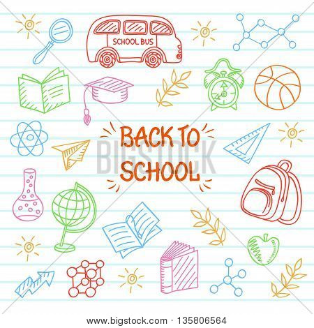 Back to School background, Sketchy Doodles Elements, Vector Illustration