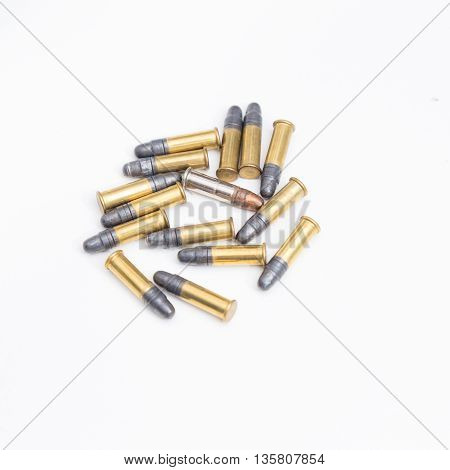 Small .22Lr Caliber Ammunition In A Pile