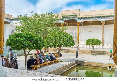 BUKHARA UZBEKISTAN - APRIL 29 2015: Sheikh Naqshband Mausoleum is the central object of the Bahauddin Nakshbandi Memorial Complex the famous place among muslim pilgrims and tourists on April 29 in Bukhara.