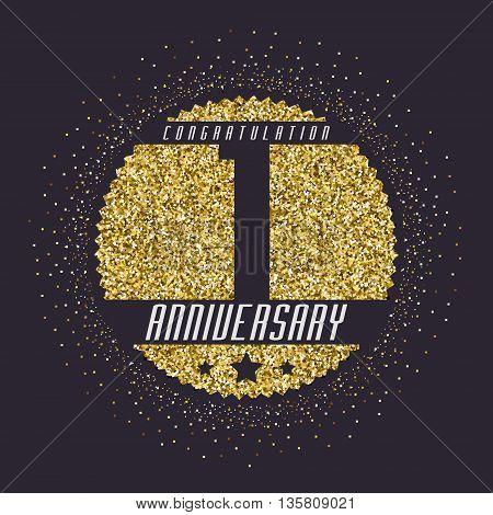 One year anniversary celebration logotype. 1st anniversary logo.