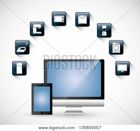 Internet of things represented by icon set of appliances. isolated and flat background