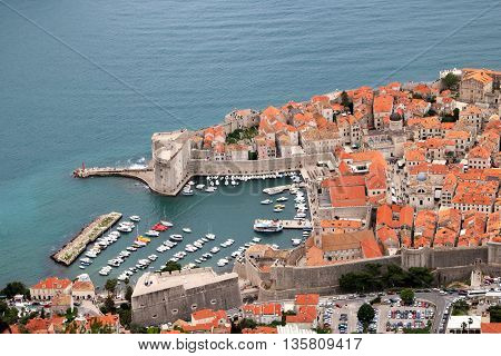 Old harbour of the city of Dubrovnik a popular tourist destination and a filming location of a popular TV drama in Croatia