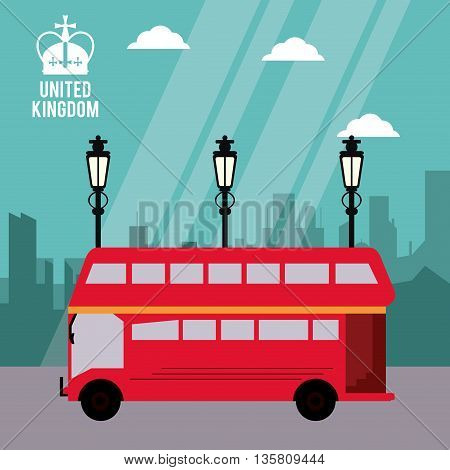 United kingdom concept represented by traditional bus icon. Colorfull and flat illustration