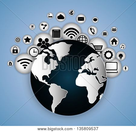 Internet of things represented by planet and icon set of multimedia apps. Blue and flat background