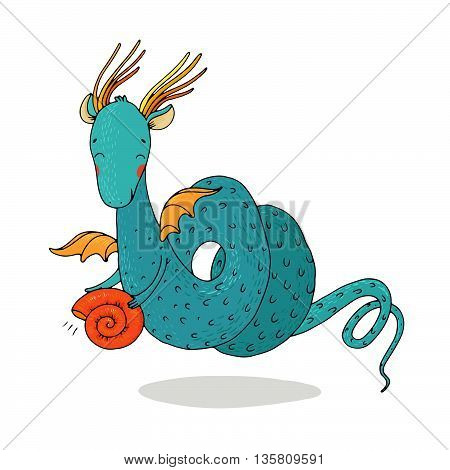 Magic dragon and shell on a white background. Hand drawing isolated objects on white background. Vector illustration.