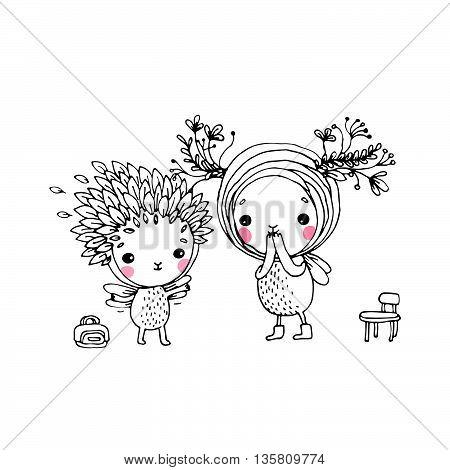 Two fairies on a white background. Hand drawn vector.