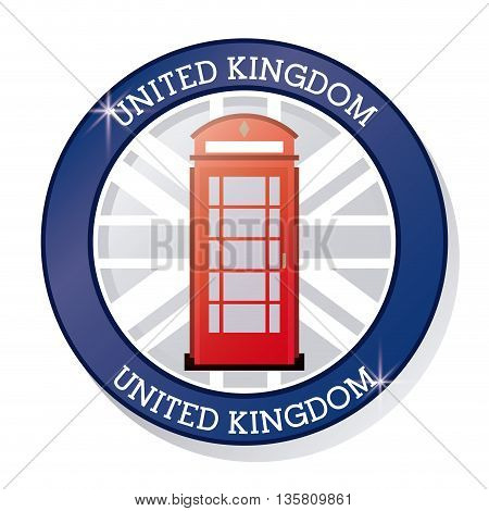 United kingdom concept represented by traditional telephone icon. Colorfull and flat illustration