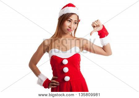 Asian Christmas Girl With Santa Claus Clothes Thumbs Down