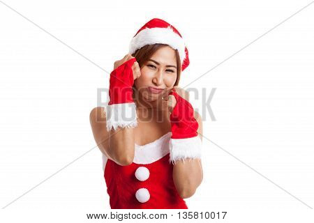 Asian Christmas Girl With Santa Claus Clothes Cry