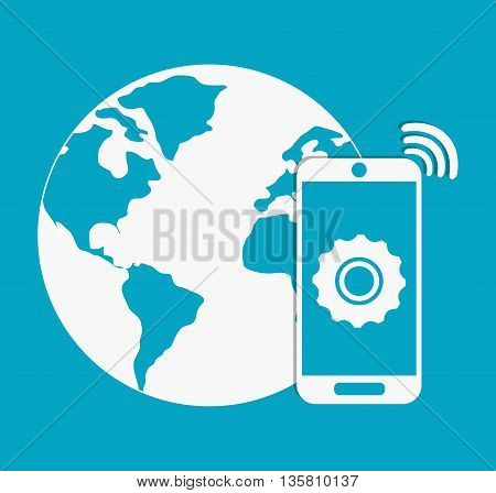 Internet of things represented by planet and smartphone icon. Blue and flat background