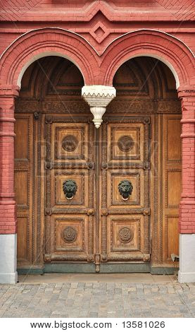 Old Wooden Door With Carved Ornament