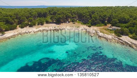 Proizd beach near dalmatian Island of Korcula ,Croatia.Beautiful peaceful island with crystal clear sea full of wildlife.Active summer diving location. Aerial view on beautiful beach.