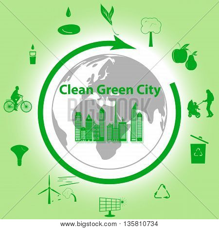 Vector illustration of a concept green clean city flat style