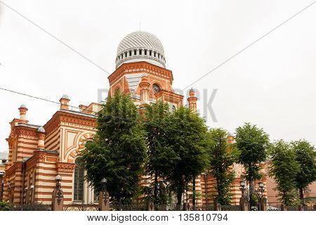 Grand Choral Synagogue in Lermontov Prospekt St. Petersburg built in oriental Moorish style.